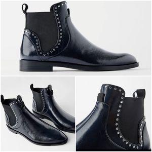 Zara studded flat ankle boots vegan leather